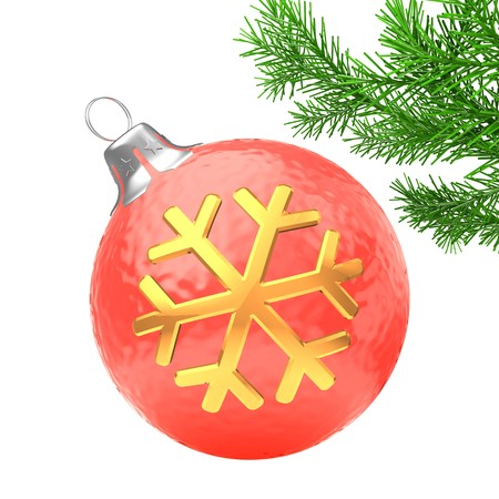 3d   red Christmas ball over white background with golden snowflake and christmas tree branch