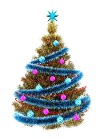 3d illustration of golden Christmas tree with red neon over white background Stock Photo