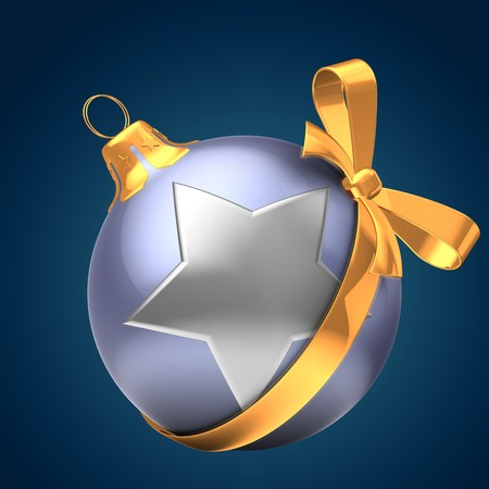 3d  violet Christmas ball over dark blue background with silver star and golden ribbon Zdjęcie Seryjne