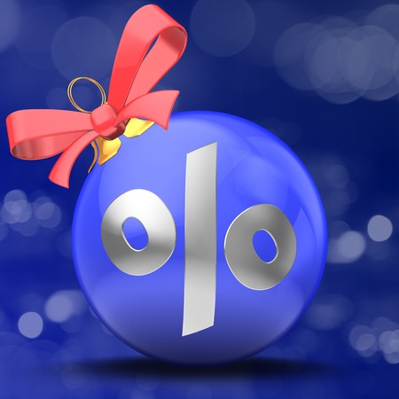3d illustration of Christmas ball blue over bokeh blue background with percent sign and red ribbon Zdjęcie Seryjne