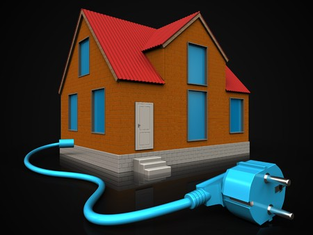 3d illustration of cottage with cable over black background Stock Photo