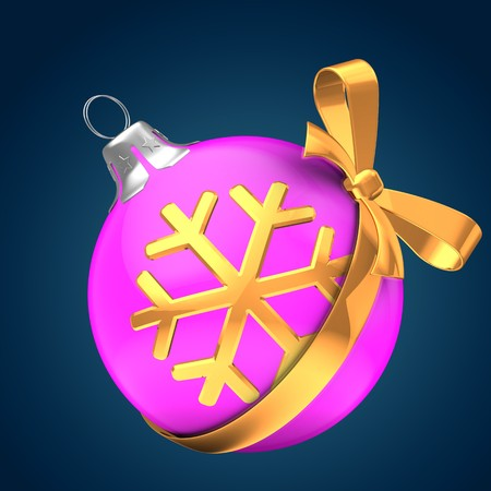 3d illustration of pink Christmass ball over dark blue background with golden snowflake and golden ribbon