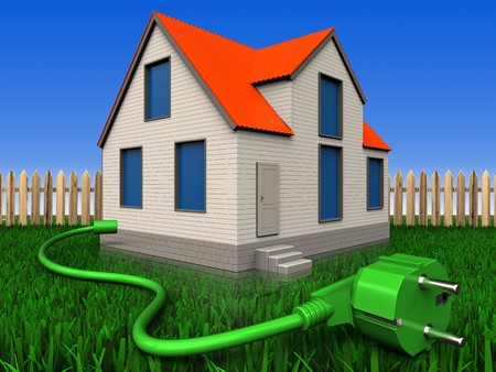 3d illustration of cottage house with power cord over lawn and fence background