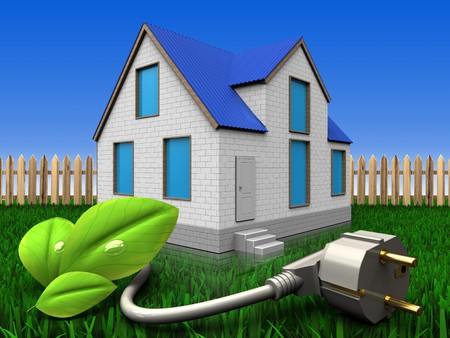 3d illustration of home with eco power cable over lawn and fence background Stock Photo