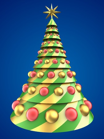 8 ball: 3d illustration of abstract Christmas tree over blue background with glass balls Stock Photo