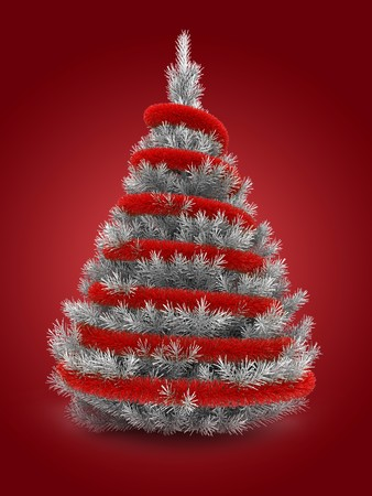 3d illustration of silver Christmas tree over red background with red tinsel