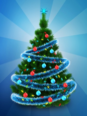 3d illustration of dark green Christmas tree with blue tinsel over blue background