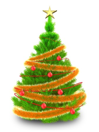 3d illustration of neon green Christmas tree with glowing tinsel over white background Stock Photo