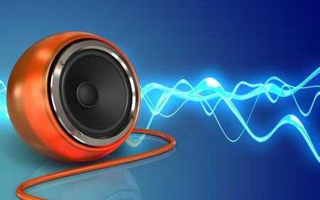 3d illustration of orange speaker over sound wave blue background