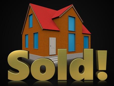 3d illustration of cottage with sold sign over black background