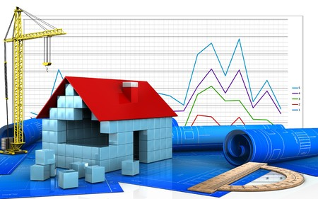 3d illustration of house blocks construction with crane over business graph background