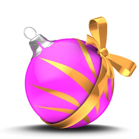 3d illustration of pink Christmass ball over white background with golden ornament and golden ribbon