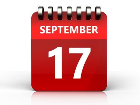 3d illustration of september 17 calendar over white background