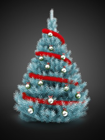 Christmas tree over gray background with red tinsel and silver balls