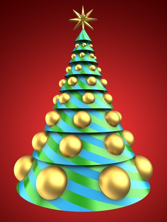 8 ball: 3d illustration of Christmas tree over red background with big golden balls Stock Photo