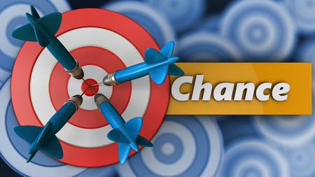 3d illustration of big taget with chance sign over many targets background