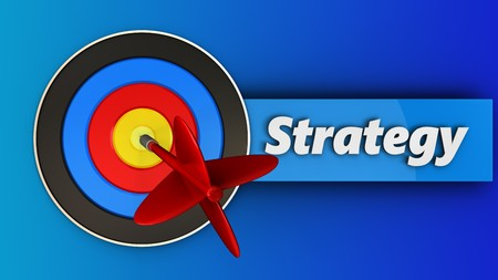 3d illustration of target with strategy over blue background