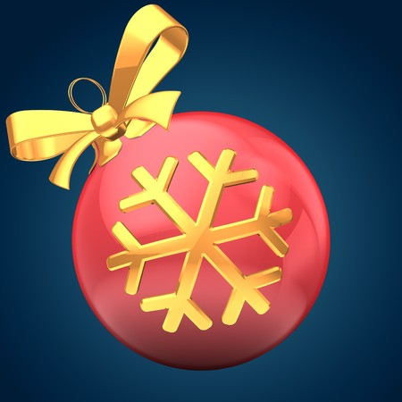 3d Christmass ball over blue background with golden snowflake and yellow ribbon