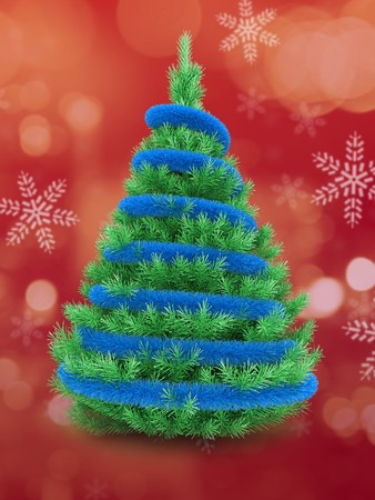 3d Christmas tree over red and snow background with blue tinsel Zdjęcie Seryjne