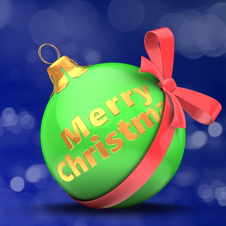 3d  green Christmas ball over bokeh blue background with Merry Christmas sign and red bow Zdjęcie Seryjne