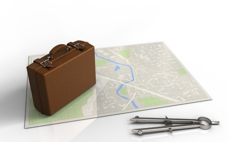 3d illustration of bright map with luggage and Stock Photo