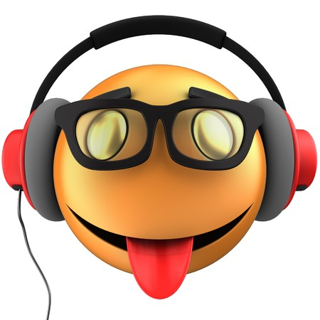 3d illustration of orange emoticon smile with red headphones over white background Stock Photo