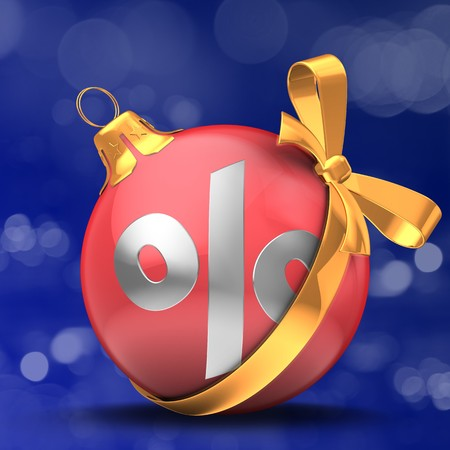 3d illustration of Christmass ball over bokeh blue background with percent sign and golden bow
