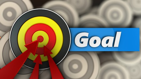 hitting: 3d illustration of round target with goal sign over multiple targets background