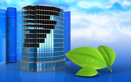 3d illustration of office building construction with drawing roll over sky background Stock Photo