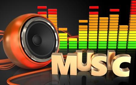 3d illustration of orange speaker over sound wave orange background with music sign
