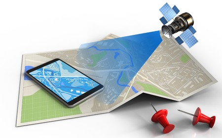 3d illustration of map paper with mobile phone and satellite