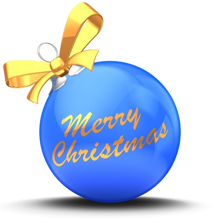 3d illustration of blue Christmas ball over white background with Merry Christmas text and yellow ribbon