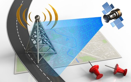 3d illustration of bright map with antenna and red pins