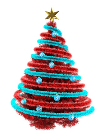 3d illustration of red Christmas tree over white with  and frippery red