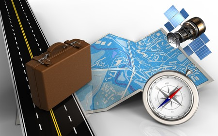 3d illustration of city map with luggage and compass