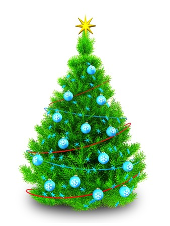 3d illustration of neon green Christmas tree with tinsels over white background