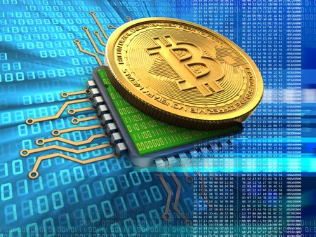 3d illustration of bitcoin over binary background with cpu blue