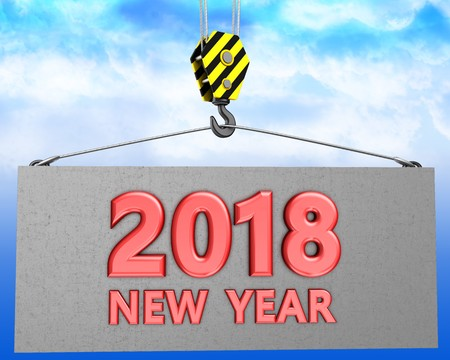 3d illustration of new year 2018 sign with crane hook over sky background Stock Photo
