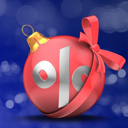 3d illustration of Christmass ball over bokeh blue background with percent sign and red bow Zdjęcie Seryjne