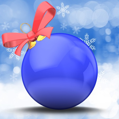 3d illustration of Christmas ball blue over winter background with red ribbon Zdjęcie Seryjne