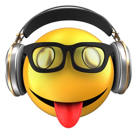 3d illustration of yellow emoticon smile with headphones over white background