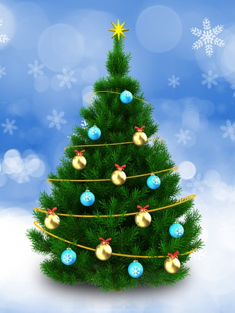 3d illustration of dark green christmas tree with blue balls over snow background stock illustration - Green Christmas Tree With Blue Decorations