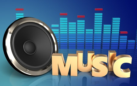 3d illustration of  over blue gradient background with music sign Stock Photo