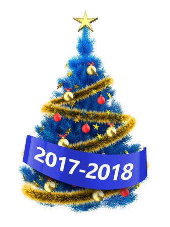 small blue balls 3d illustration of blue christmas tree with golden stars over white background - Small Blue Christmas Tree