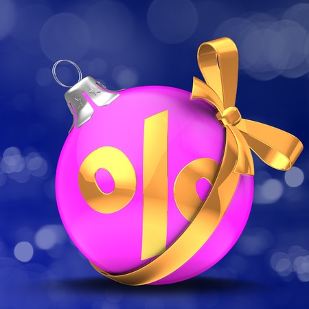 3d  Christmass ball over bokeh blue background with percent sign and golden bow Zdjęcie Seryjne