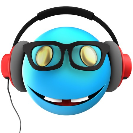 3d illustration of blue emoticon smile with red headphones over white background