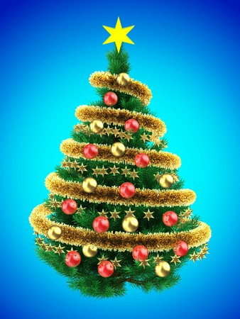 3d illustration of Christmas tree over blue with red balls and frippery