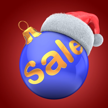 3d blue Christmas ball over red background with sale sign and Christmas hat
