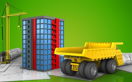 3d illustration of building with crane over green background Stock Photo