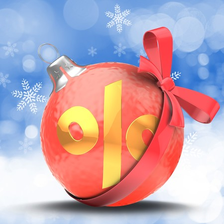 3d   red Christmas ball over winter background with percent sign and red ribbon Zdjęcie Seryjne